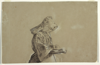 Horizontal view of the upper portion of a woman wearing in a sunbonnet, facing right, and holding a bowl against her body in her left hand as her right hand extends as though dropping feed for chickens.