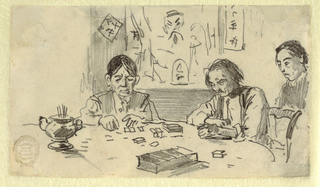 Horizontal view of three Chinese men seated at a table, where two of the men are playing dominoes while the third man watches.