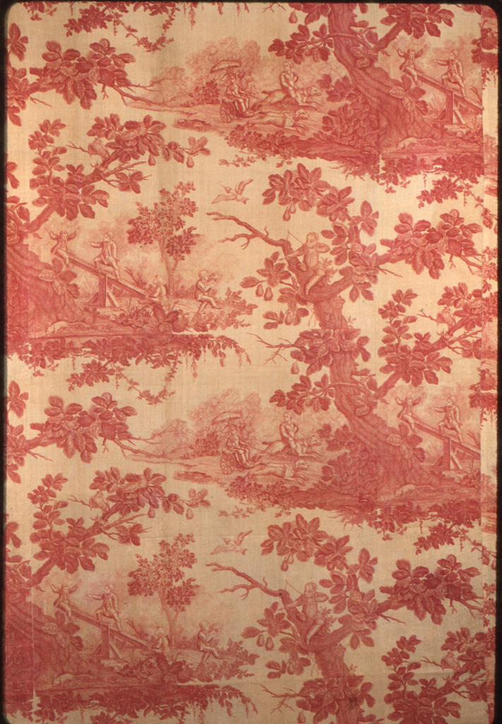 Panel made of one complete and three incomplete lengths of this fabric. Design of children playing several kinds of games around a large gnarled tree. Many small birds in design. In red on white.