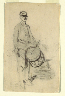Recto: Vertical view of a drummer seen from the front, beating his drum.