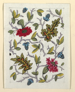 Multi-colored floral and leaf pattern on white ground, lined graphite border.
