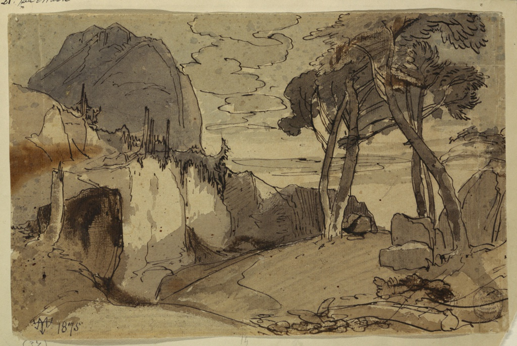 Recto: Horizontal and oblique view of a road, between rocks and trees with a crag-like mountain rising in the left background. Verso: Mountainous landscape with a house in the center.