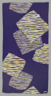 Dark blue ground has a pattern of cascading squares. Each square is filled with wavy lines of yellow, orange, gray and white.