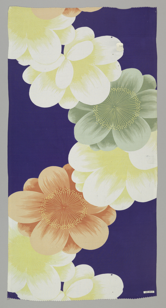 Dark blue ground with large stylized blossoms in orange, yellow, green and white.