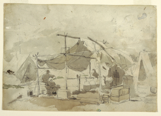 Recto: Horizontal view of an army cook's tent with a row of cauldrons hanging above a fire. Verso: several sketches, including one of the same soldier drawn on 1912-12-159.