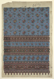 Design for a woven, machine-manufactured shawl with Indianizing paisley motifs. Design shows blue ground, ornamented with detached floral forms in pink, blue, and green; brown stripes with flowers and ornamental border.