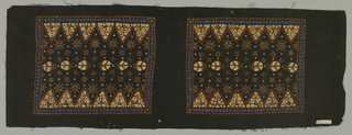 Long piece of black cotton batik-printed with two repeats of blue-bordered square enclosing rows of triangles, stylized floral, and other traditional batik motifs. In reserved white, tan, brown, and blue.