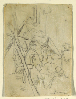 Vertical view of soldiers grouped near a shelter made of pine branches.