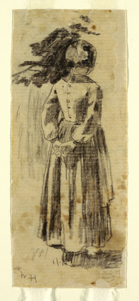 Vertical view of a girl dressed in a cap, bodice, skirt and apron, seen from the back.