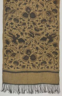 Narrow shoulder cloth (selendang) in green, grey and dark brown with an all-over leaf and flower pattern with birds. Border by fringe with vertical parallel lines gives illusion of a longer fringe. Chinese influence indicated by inclusion of the lokcan bird which is based on the phoenix. Fringed.