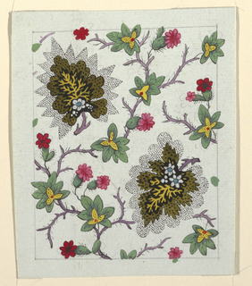 Brown leaf surrounded by black dotted pattern, green leaves, red flowers on purple branches.  Graphite lined border.