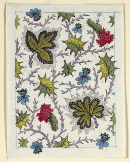 Green leaves, blue and red flowers, thin purple branches on white ground, lined graphite border.