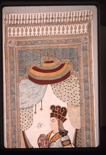 Vertical panel with a printed border with a shaped tri-lobed niche at the top. The center of the panel is filled with a painted seated male figure.