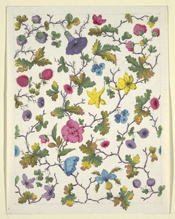 Multi-colored flowers, green leaves on purple twig-like branches on white ground.  Graphite lined border.