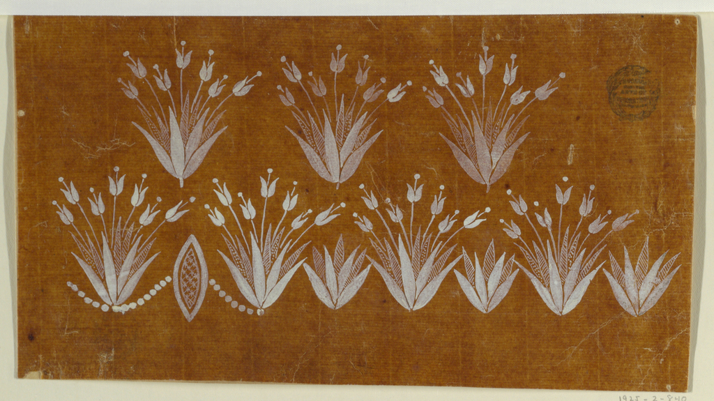 Drawing, Floral field and border, 1780–1815