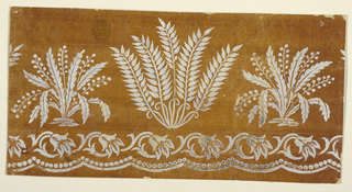 Plants of two different designs alternate over scroll rinceaux and a waved row of beads and a curved stripe. Slightly more than one and one-half repeats are shown.