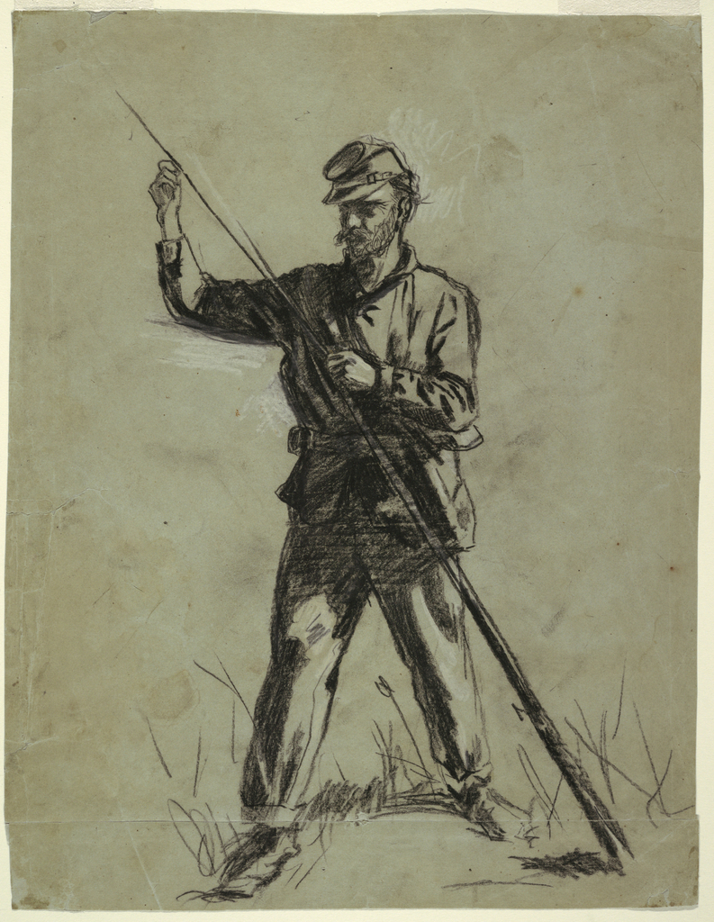 Recto: A soldier in Civil War uniform, stands in the foreground, feet spread, holding a rifle placed diagonally across his body in his left hand, using a long rod in his right hand to tamp gun powder down the barrel of the rifle.   Verso:  A head is shown from the back, at center; a wounded soldier sits leaning on both hands, shown in full length and in the opposite direction, at top; and a dead soldier lies with bent knees and covers his face with his left hand, at bottom.