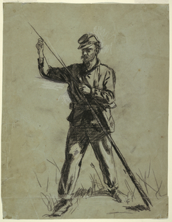Drawing, Cavalry Soldier Loading a Rifle