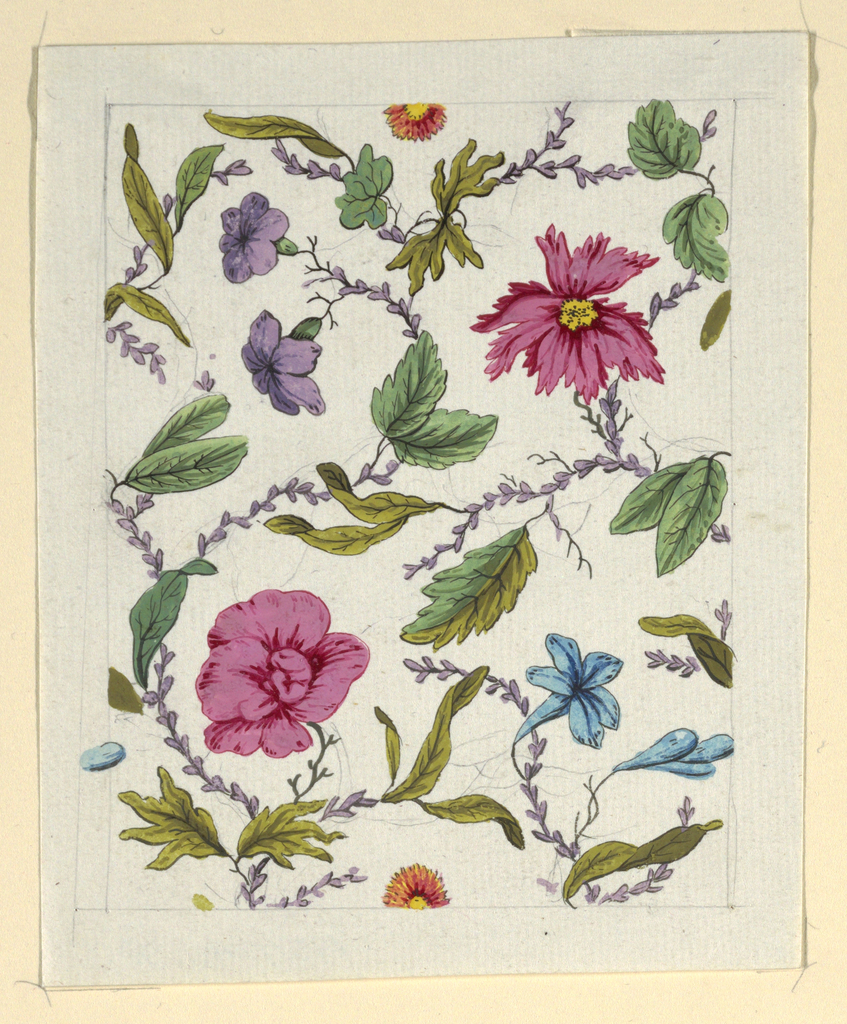Pink, purple and blue floral pattern, green leaves on white ground, lined graphite border.