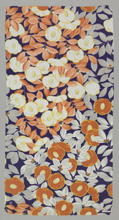 Dark blue ground with dense arrangement of stylized blossoms, leaves and berries in orange, yellow, white and grey.