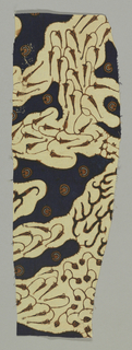 Textile with conventional design in off-white and blue. Design similar to parang baris motif.