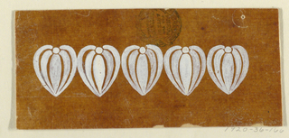 Five heart forms, composed of leaves and a bead.