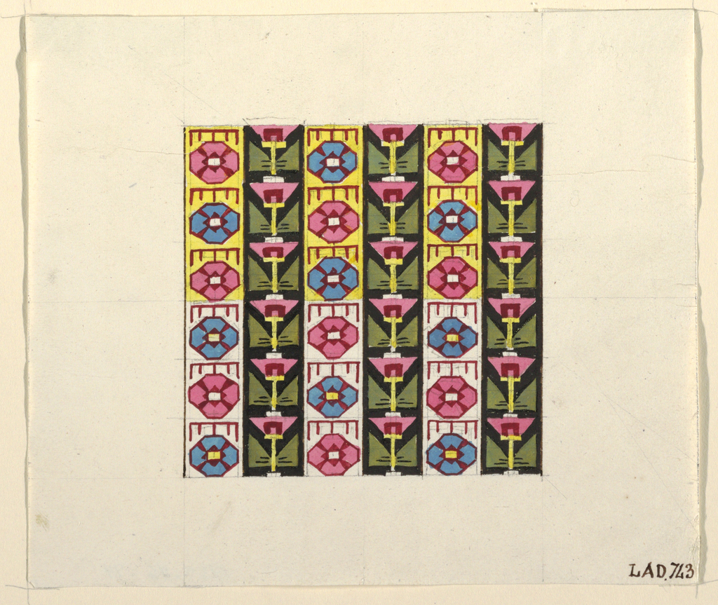 Vertical rows of stylized flower heads alternating with vertical rows of inverted traingles, pink, blue, yellow and green pallets.