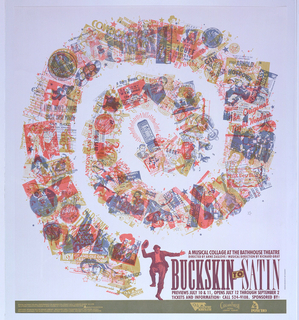 Poster for musical production. Center, a spiralling collage made of various overlapping images, most are music-related (e.g. guitar, lower right; records, upper left; musical notes throughout, etc.) and male figure dancing at the bottom. Text in deep purple, lower right: A MUSICAL COLLAGE AT THE BATHHOUSE THEATRE / DIRECTED BY ARNE ZASLOVE / MUSICAL DIRECTION BY RICHARD GRAY / BUCKSKIN TO SATIN / PREVIEWS JULY 10 & 11, OPENS JULY 12 THROUGH SEPTEMBER 2 / TICKETS AND INFORMATION: CALL 524-9108. SPONSORED BY: at bottom, green border with sponsor information, lower left; sponsor logos, lower right corner (i.e. Cascade Fresh Natural Yogurt, Poncho).