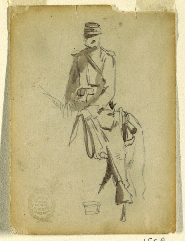 Vertical view of a mounted cavalry officer, seen obliquely from the left side; a slight  graphite sketch of the cap, at bottom.