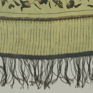 "Textile, probably a breast cloth (kemben) or a shoulder cloth (selendang), with pattern of birds in ""lokcan"" style (reflecting Chinese influence), insects, leaves, and flowers printed in black and light brown on green ground. Black fringe at either end."