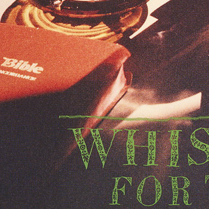 Poster depicting a partial table with bottle and glass of whiskey, ashtray with cigarettes—one lit, the Holy Bible, and matches. Text in upper center, in black and white box: SUB / POP; in orange: MARK / LANEGAN; lower center, in green wavy text with small floral decoration: WHISKEY / FOR THE / HOLY GHOST.