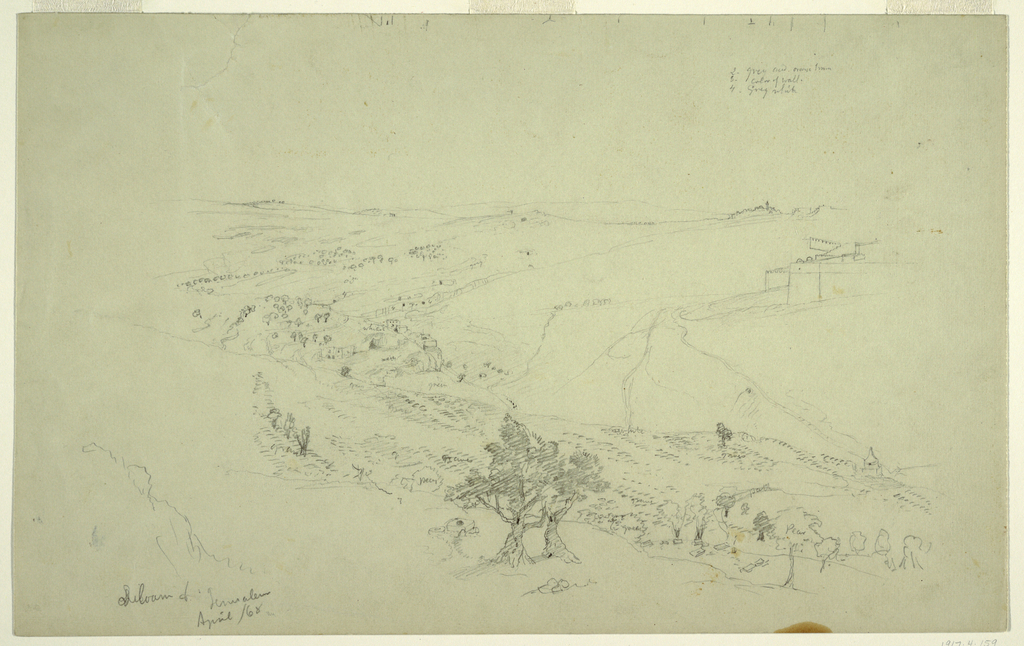 Recto: Horizontal view of the countryside with boulders and gnarled olive trees on slopes, Siloam in the center middleground and the Dome of the Rock on the Mount Zion in the right background.  Verso:  an account