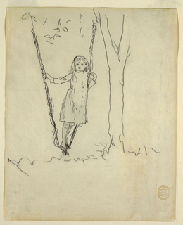 Vertical view of a girl standing in a swing and leaning against the rope on her left side.