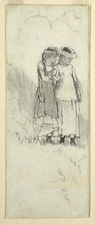 Vertical view of two young girls standing in a field, looking downward to the right; a mountain indicated in background.