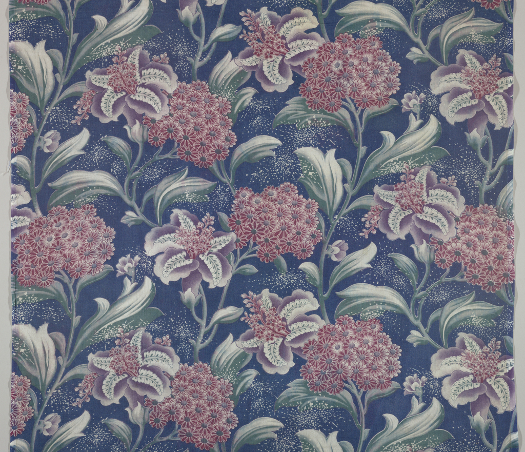 Lightweight fabric with a half-drop repeat of a vertical curving branch with flowers on a dark blue ground. Printed on both sides.