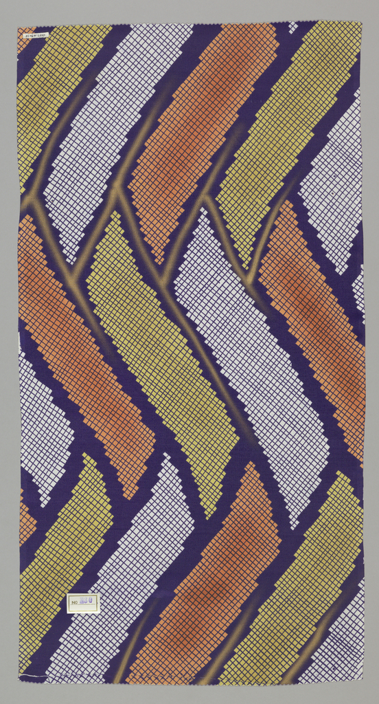 Dark purple zigzag outlines are filled with orange, light green and reserve white. Bands of color are overprinted with a dark purple cross hatch pattern.