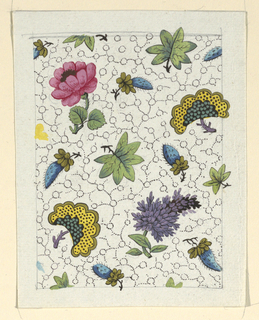 Red and purple flowers, green leaves on white ground decorated with a black dotted pattern.