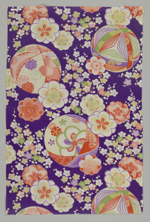 Purple ground with brilliant multicolored print of patterned globes and flower sprays.