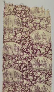 Fragment of pattern with offset arrangement of oval medallions containing scenes of courtship and marriage purple super-imposed on a floral vine pattern on a purple background.