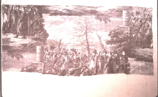 Three pieces seamed correctly showing a partial repeat. Napoleon waving to his troops in a wintry landscape. In purple on white.