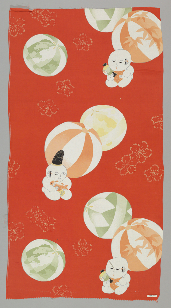 Red-orange ground with five-petal flowers outlined in white has a design of large patterned paper balloons and kneeling chubby babies holding koi and a drum or vessel.