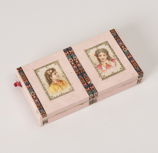 Rectangular box and cover (formerly paper-hinged) covered with glossy pink paper and with strips of multicolored paper framing two colored lithograph prints of young girls on the cover. Inside edged with lace paper.