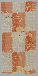 Orange and grey checkboard pattern with white outlines of lilies accented with yellow and black. Mock shibori pattern is printed over the ground.