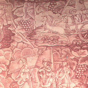 Two scenes, possibly of the crusades on a background of grape leaves. In red on white. Signature under one of the scenes on the left.