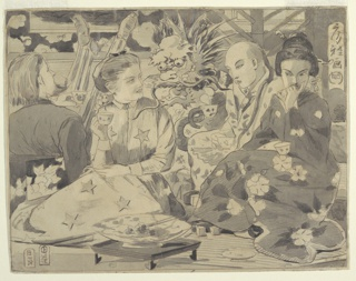 Horizontal view of four figures. Asian man and woman at right wearing long kimono and hold teacups; the male figure also holds a fan. Western male and female figure at left, the woman wears a long robe printed with five-pointed stars, her white shirt collar showing at top; the man viewed from the back with long hair and beard and striped trousers, his feet raised high into the air. Low table with bowl in foreground; decorative dragon at center in background.