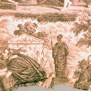 Three scenes (one complete only when lengths would be sewn together) of Lycurgus teaching the youth of Sparta. Full repeat not present. A and B are necessary to complete a partial width.