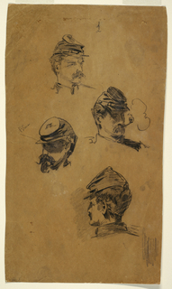 "Vertical view showing the heads of four soldiers, with color notation, ""Blue"", beside head, at center left; and an indistinct letter, at top.    Verso:  various sketches of (1)a clouded sky, several ""W's"" inscribed at top; (2)a shore with boulders and vegetation emerging from the water, shown horizontally, with ""Redish - white/ L[ight] B[lue]"", the places to which are referred to being marked with circles and strokes, respectively, inscribed in the sky."