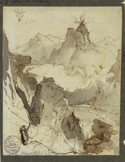 Vertical view with summits of Rockies separated by a lake and clouds bridging the gap.  Hiawatha, leaning on a rock in left foreground, raises his right arm in greeting. Mudjekeewis stands upon a summit in the back.