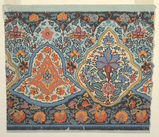 South-Asian inspired design for a woven border featuring an arcade at top and a carnation rinceaux at bottom. Central portion features two flower-filled medallions intended for repeat.