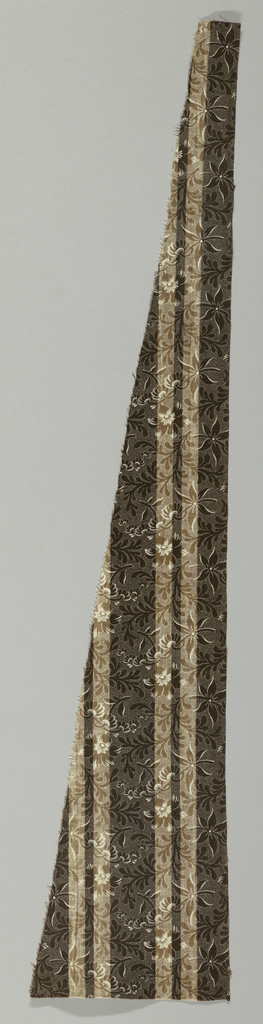 Fragment in brown and white with a striped and polka-dotted ground in a floral design.